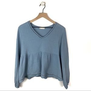 Altar'd State Dusty Blue Long Sleeve Blouse Large